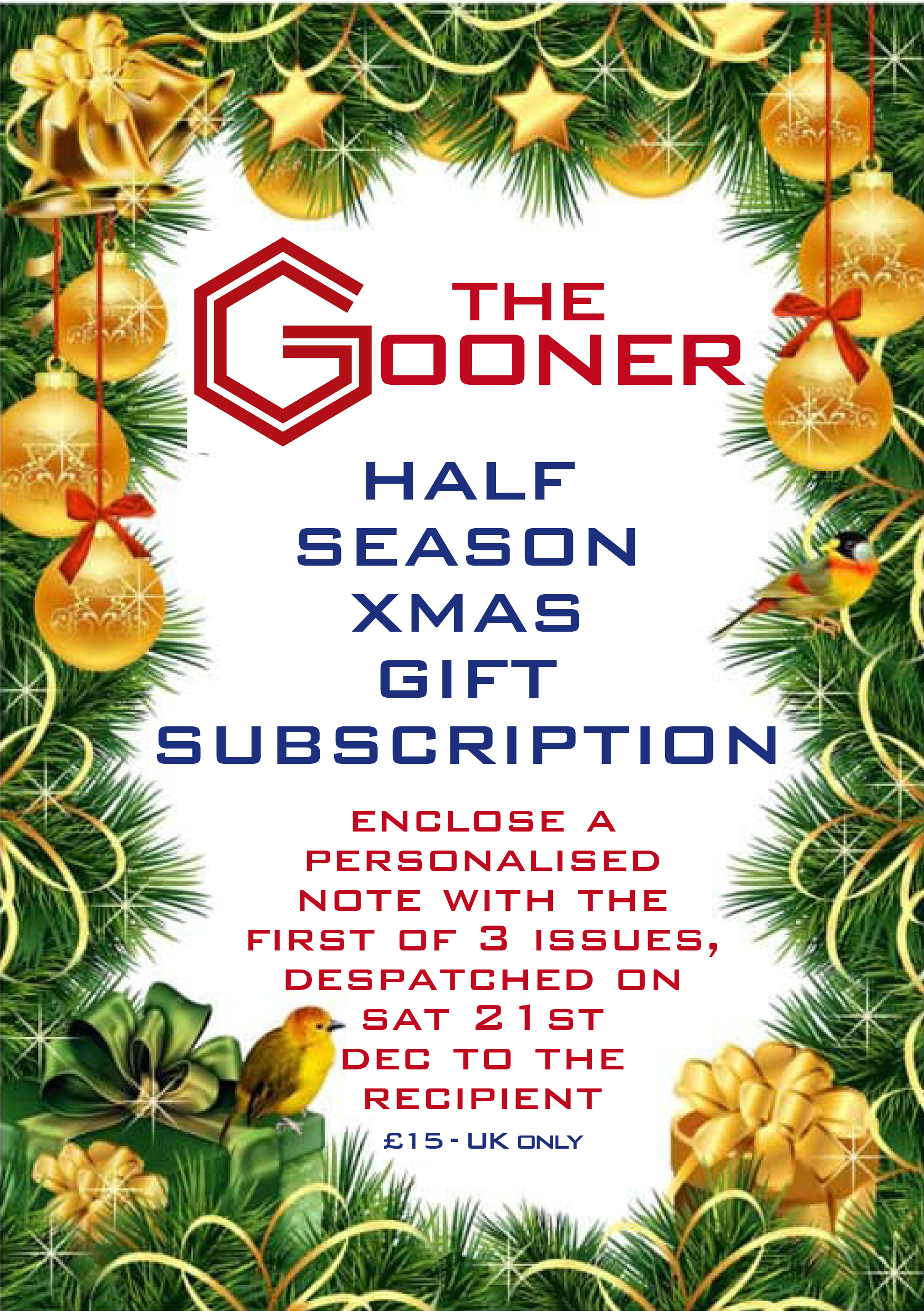Half Season Gooner Gift Subscription